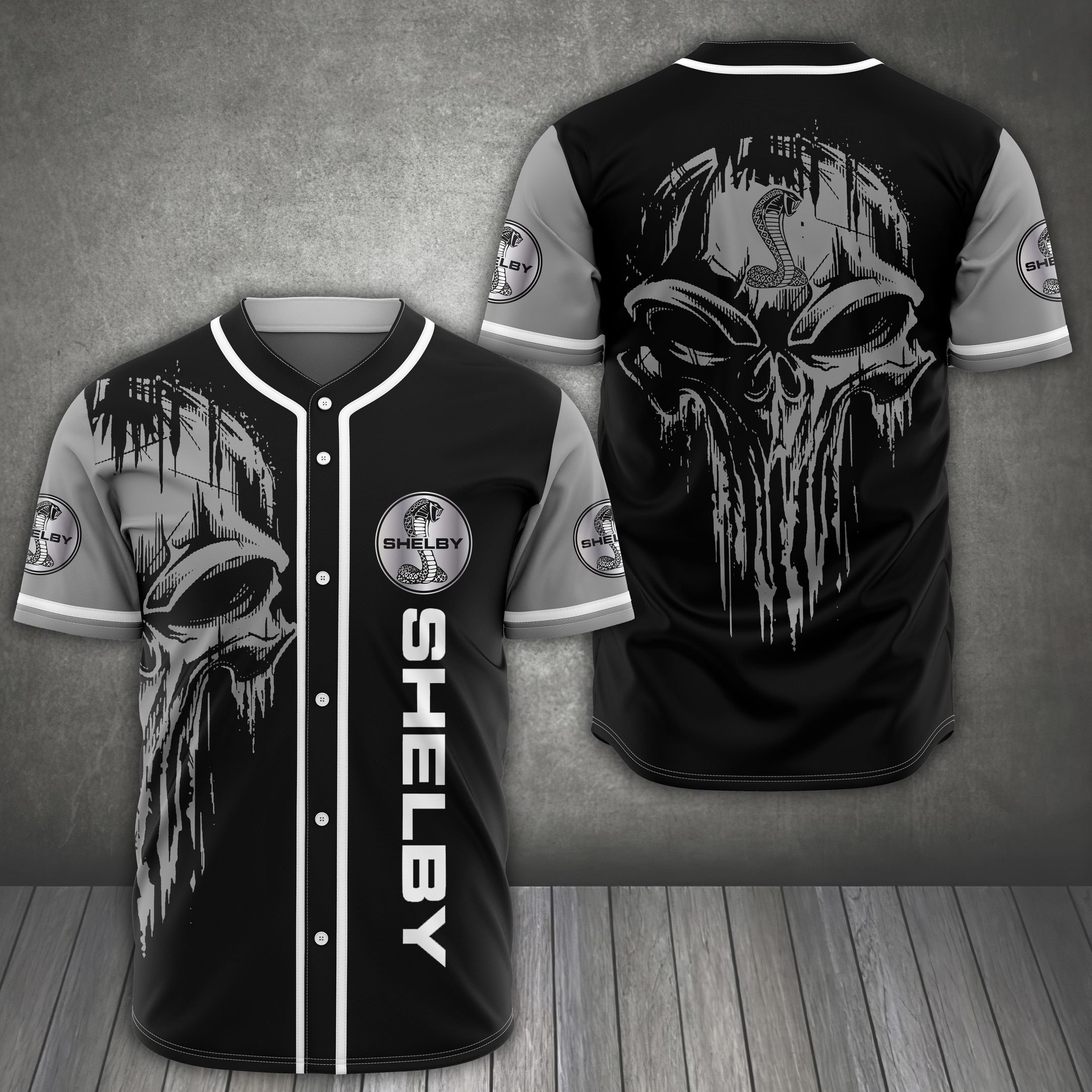Shelby American auto black skull Baseball Jersey