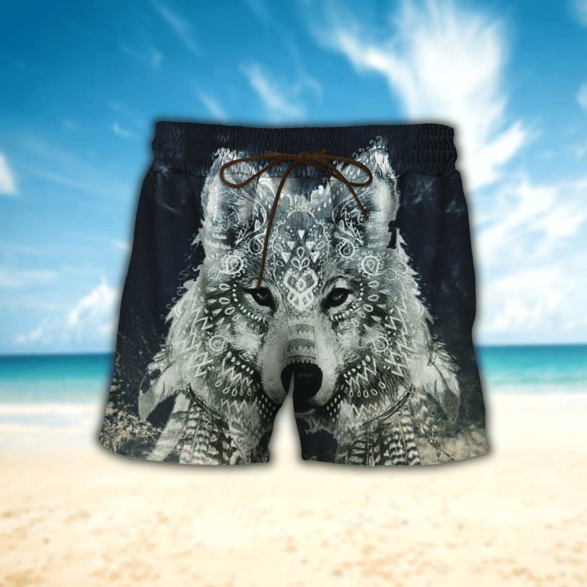 Native Wolf Pattern Hawaiian Shirt And Short