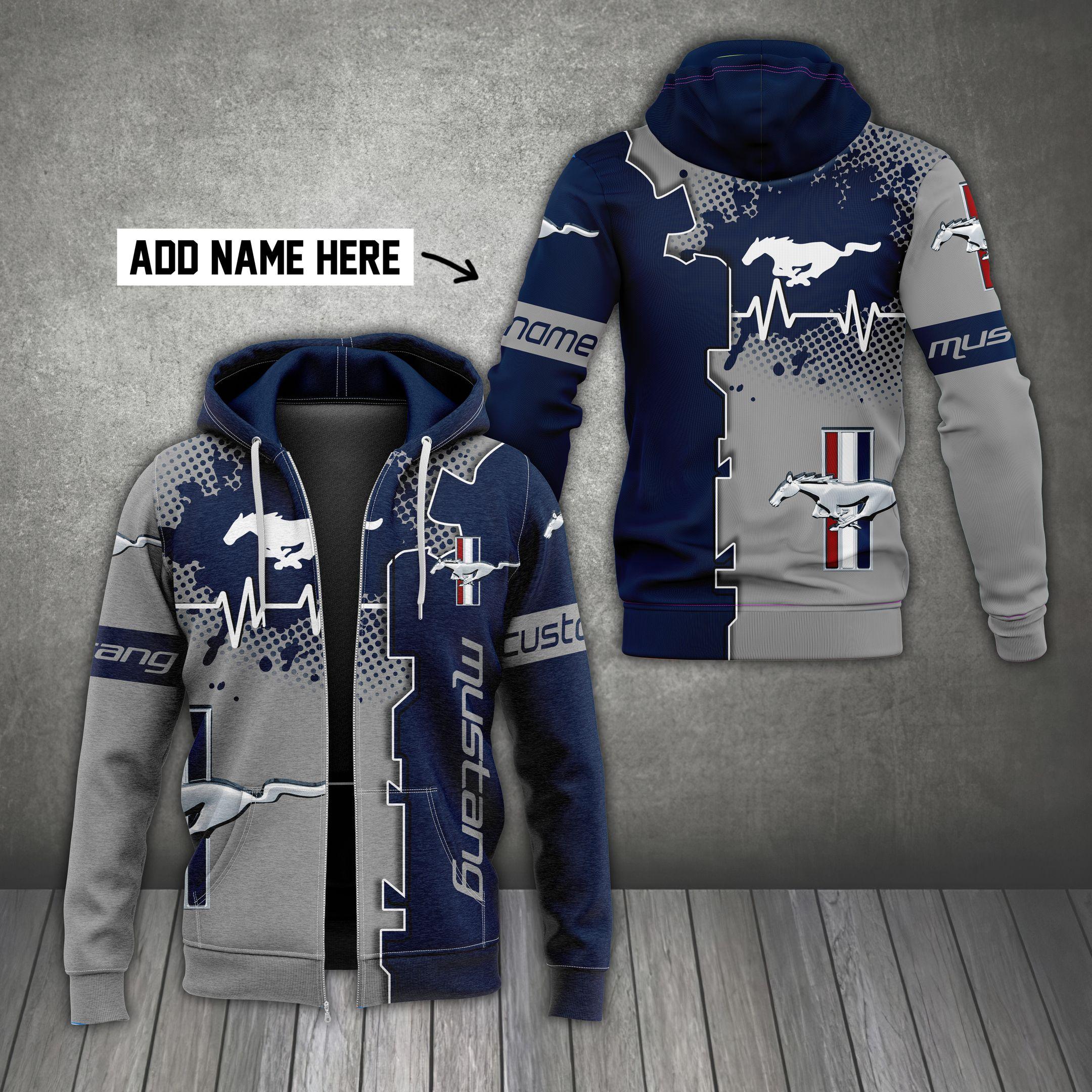 Custom Name Mustang grey and navy hoodie
