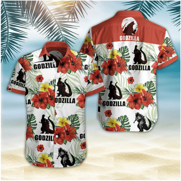 Godzilla Floral Hawaiian Shirt Summer Shirt