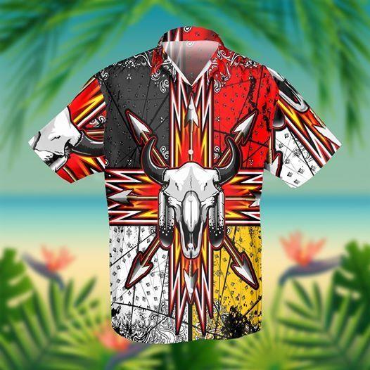 Bison Arrow Native American Hawaiian Shirt Summer Shirt