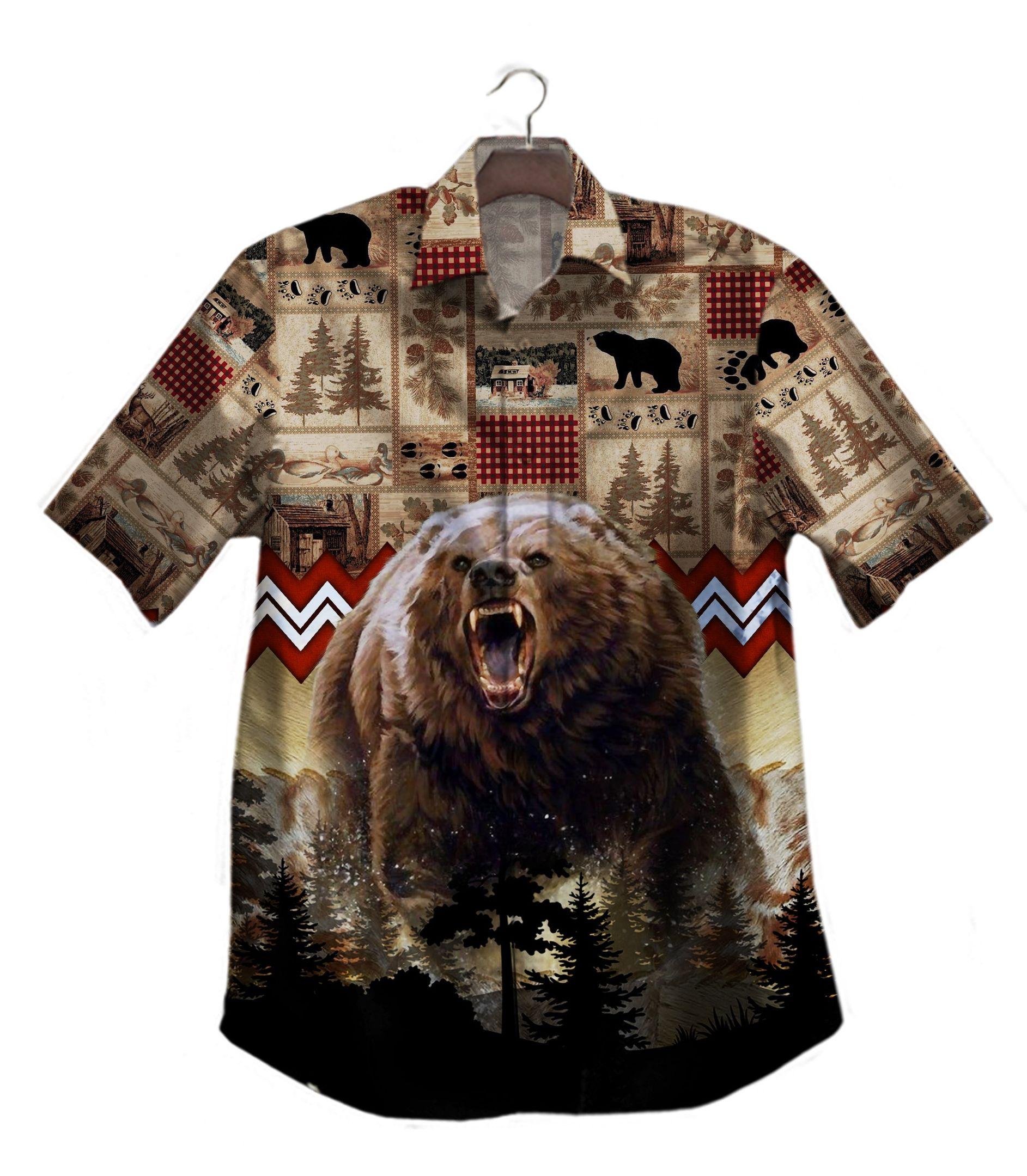 Bear Hunting Hawaiian Shirt Button Up Shirt