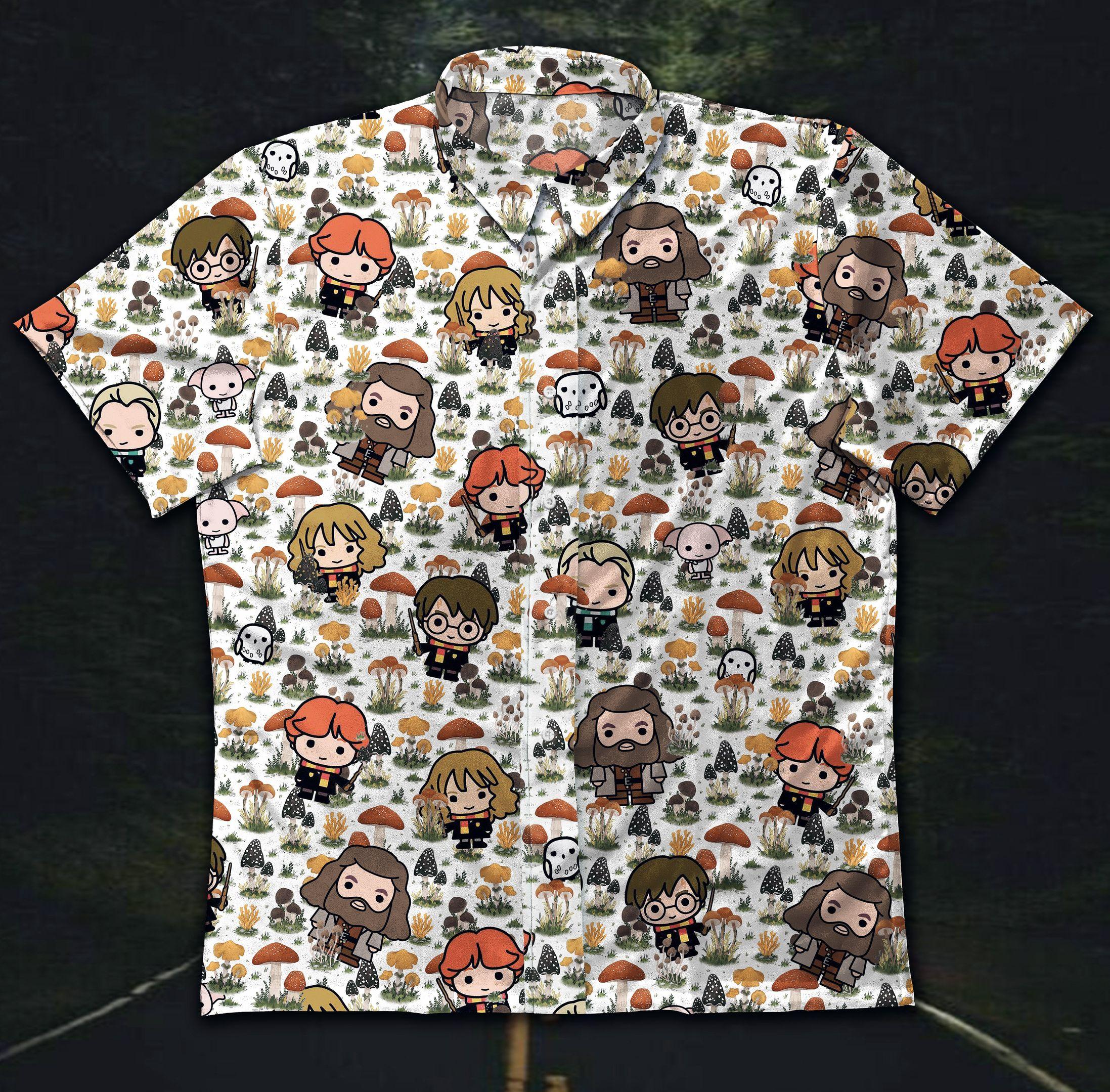 Harry Potter Chibi style Hawaiian Shirt Button Up Shirt