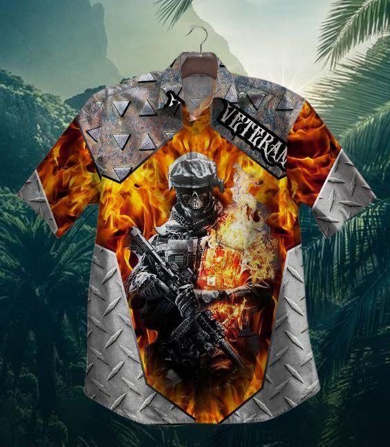 US Army Skull Veteran In Fire Hawaiian Shirt