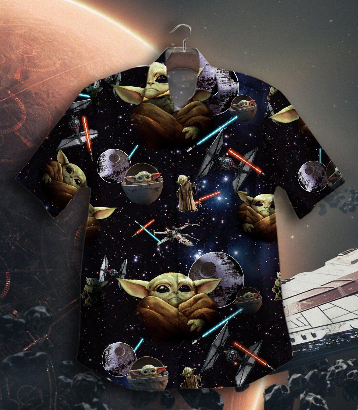 Baby Yoda Lightsaber Star War Hawaiian Shirt Button Up Shirt
