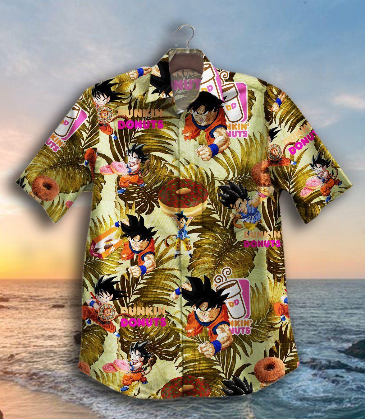 Son Goku Dunkin Donuts Hawaiian Shirt Summer Shirt Button Up Shirt