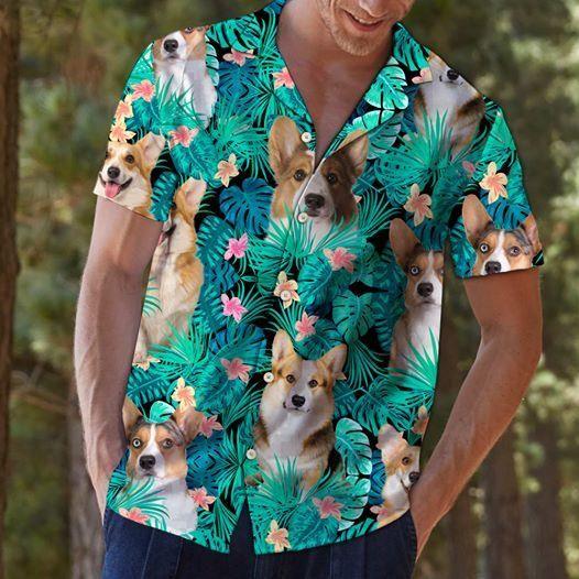 Cardigan Welsh Corgi Tropical Flower Hawaiian Shirt