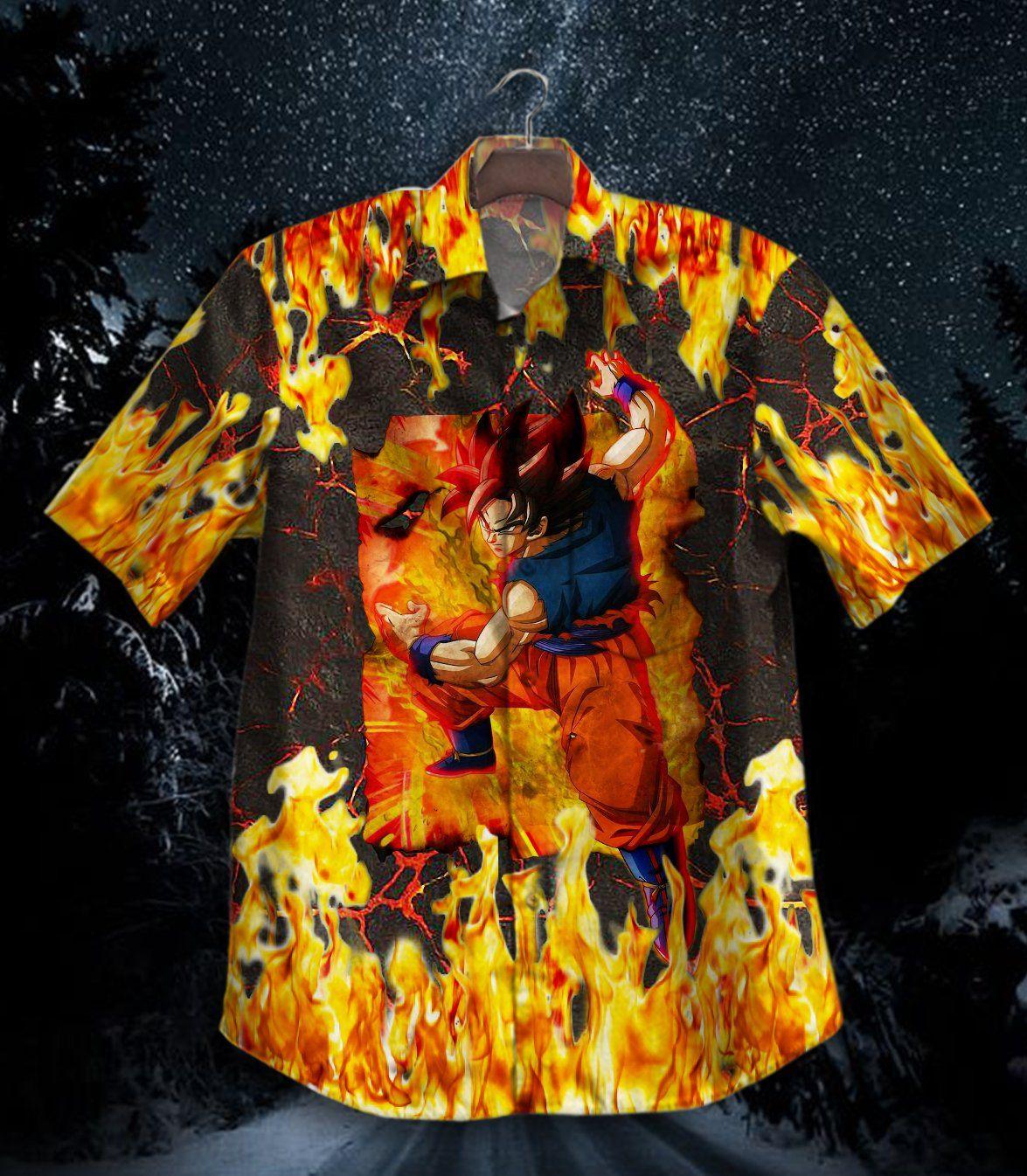Dragon Ball Son Goku Fire Hawaiian Shirt Button Up Shirt