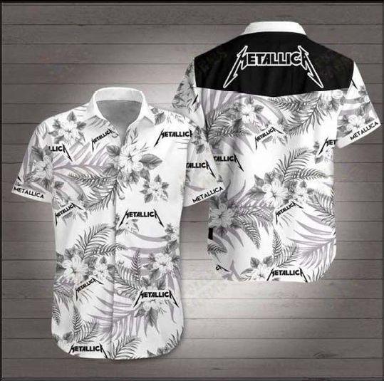 Metallica white Floral Hawaiian Shirt