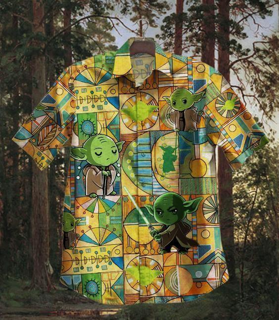Baby Yoda Cute with lightsaber Hawaiian Shirt Summer Shirt