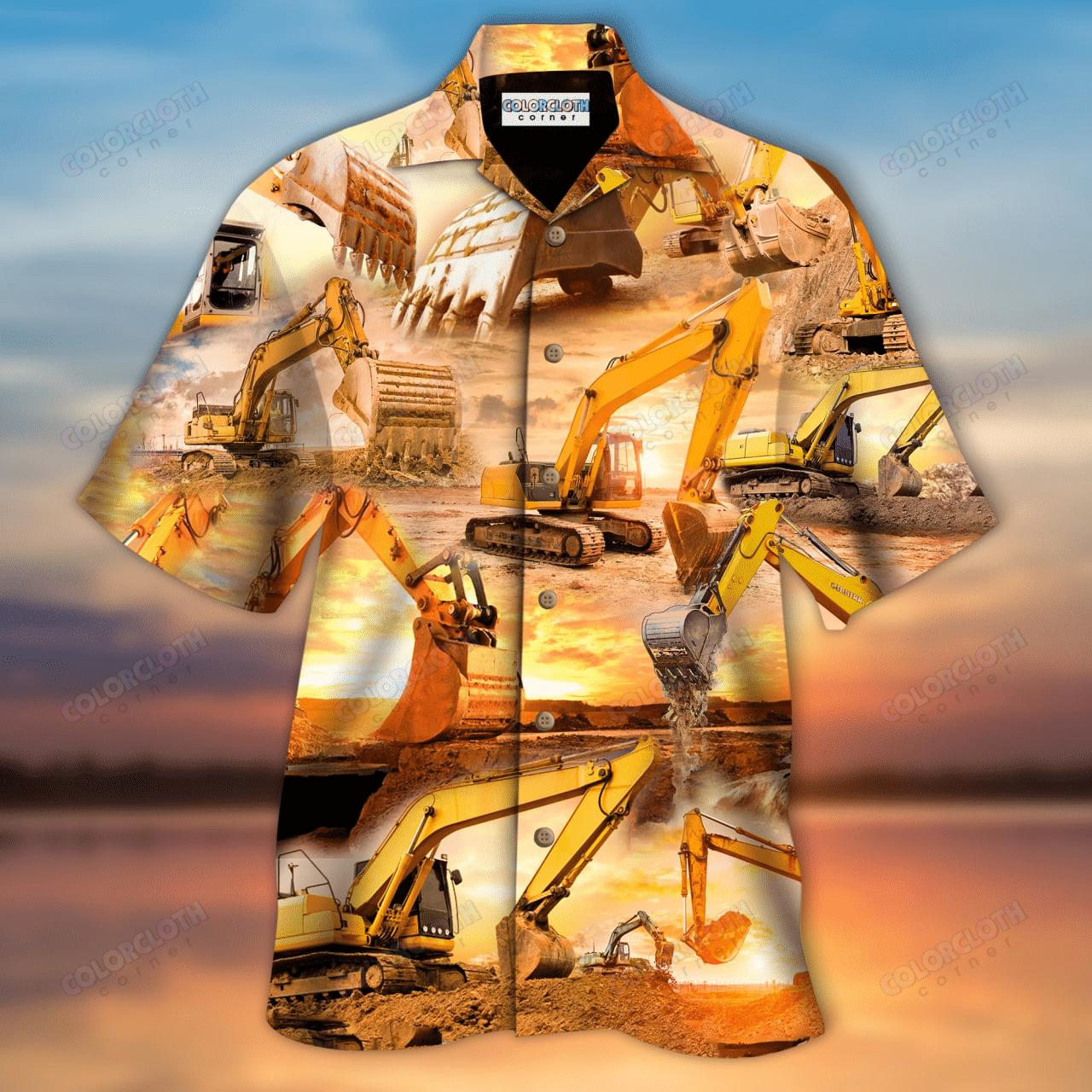 Real Men Operate Excavator Unisex Hawaiian Shirt