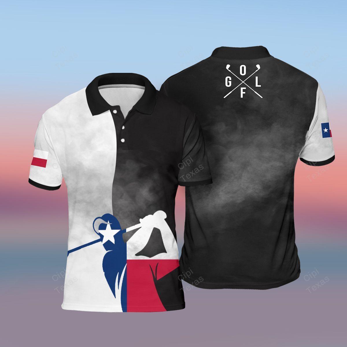 Golfer Golf Player Texas Flag Black Polo Shirt
