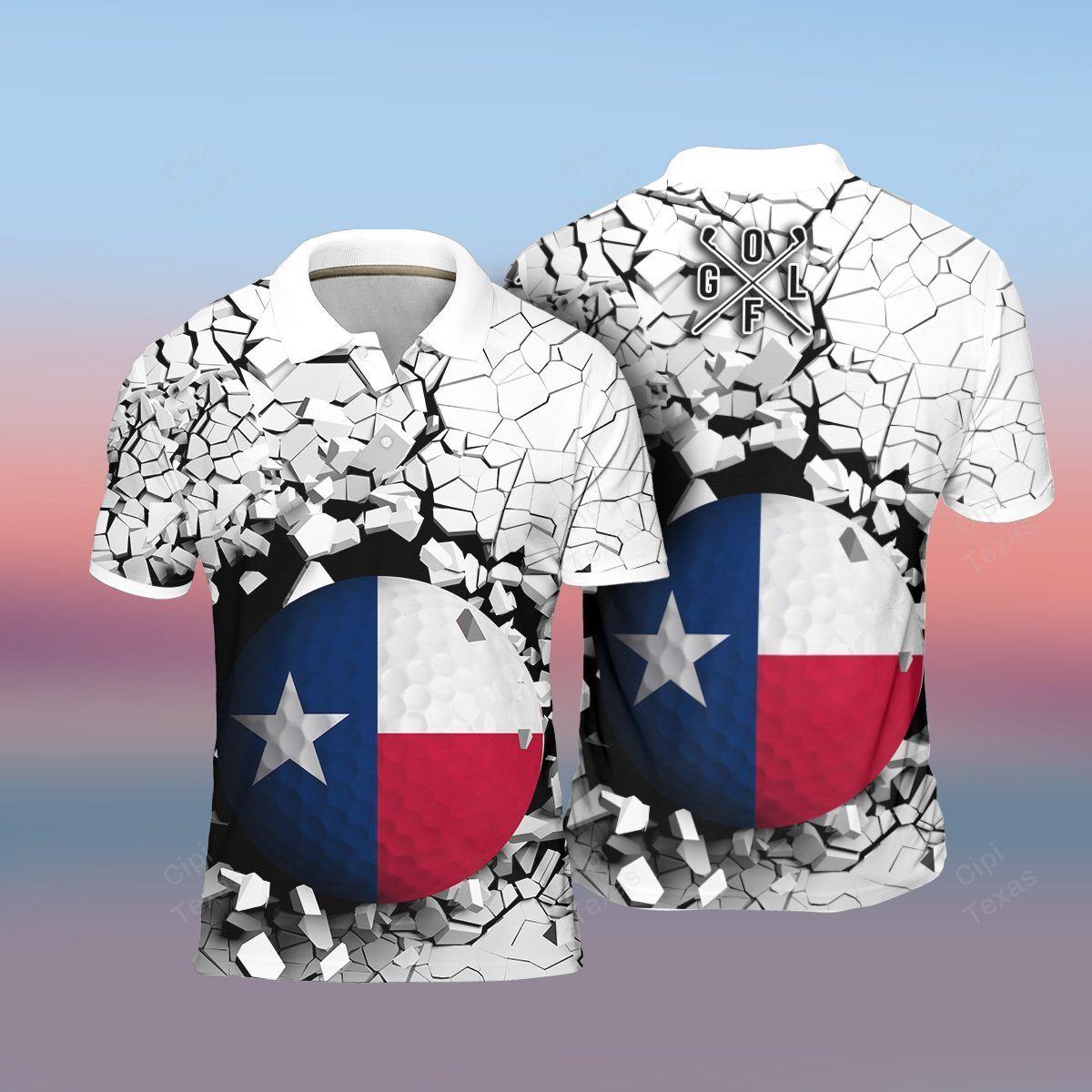 Texas Flag In The Golf Ball Breaking Polo Shirt