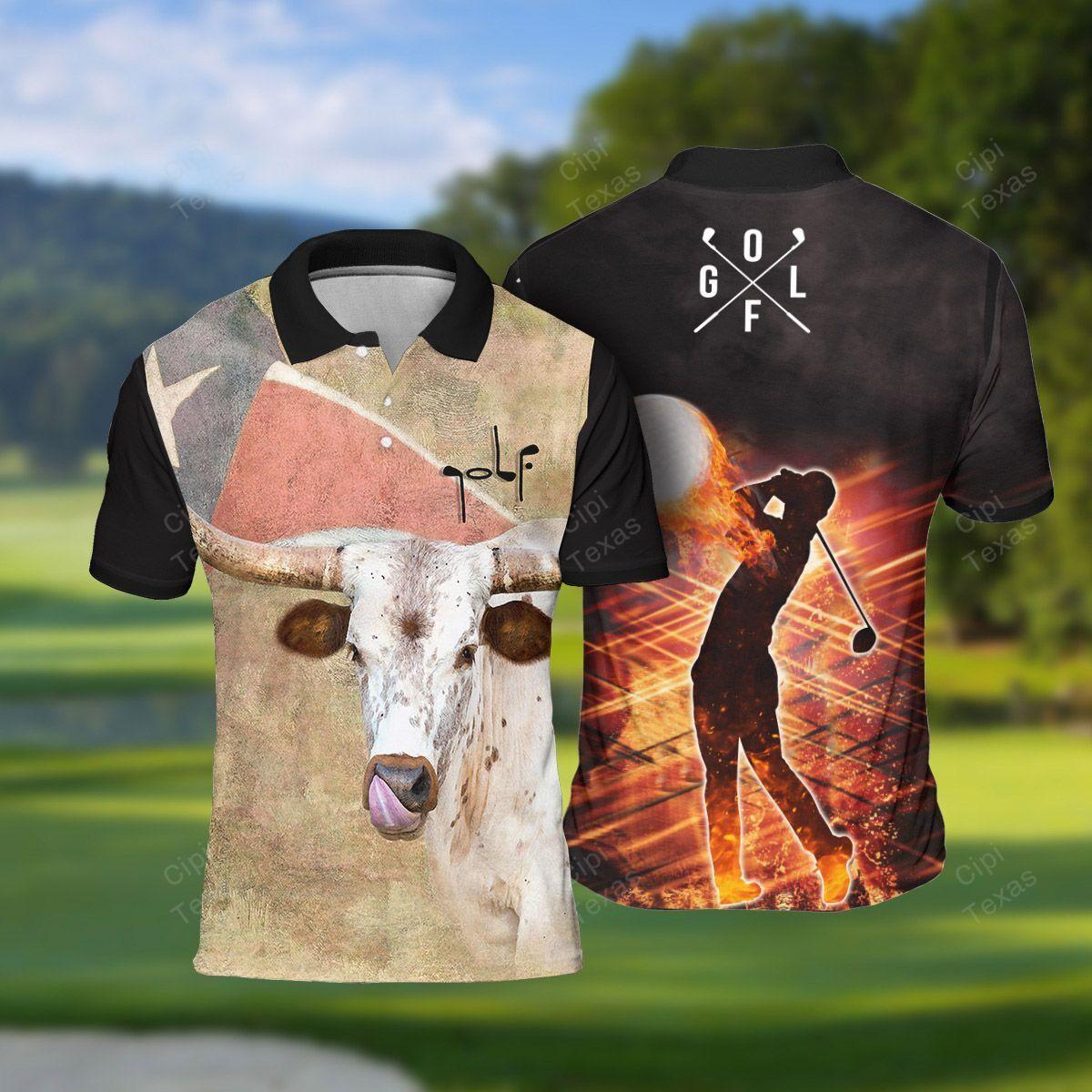Texas Longhorn Golf Ball Polo Shirt Black