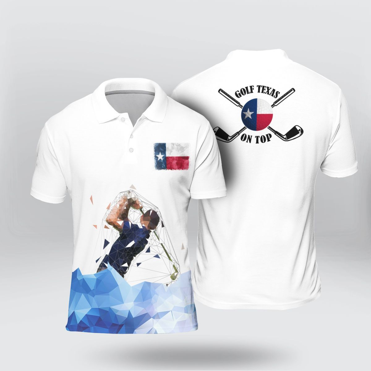 Golfer Texas On Top Art Low Poly Polo Shirt