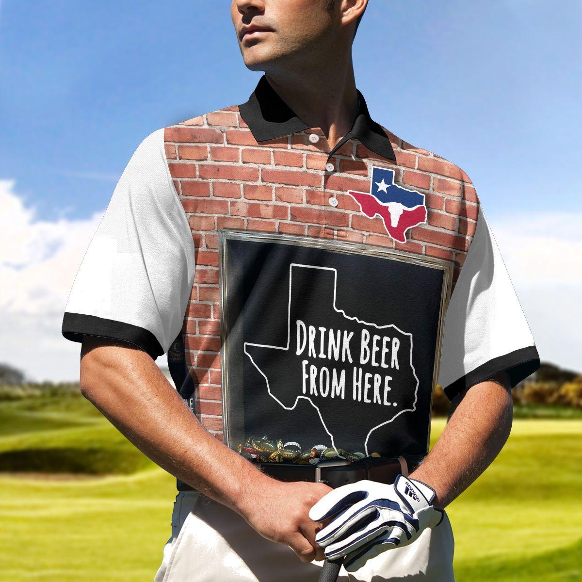 Texas Drink Beer Golf Ball Polo Shirt