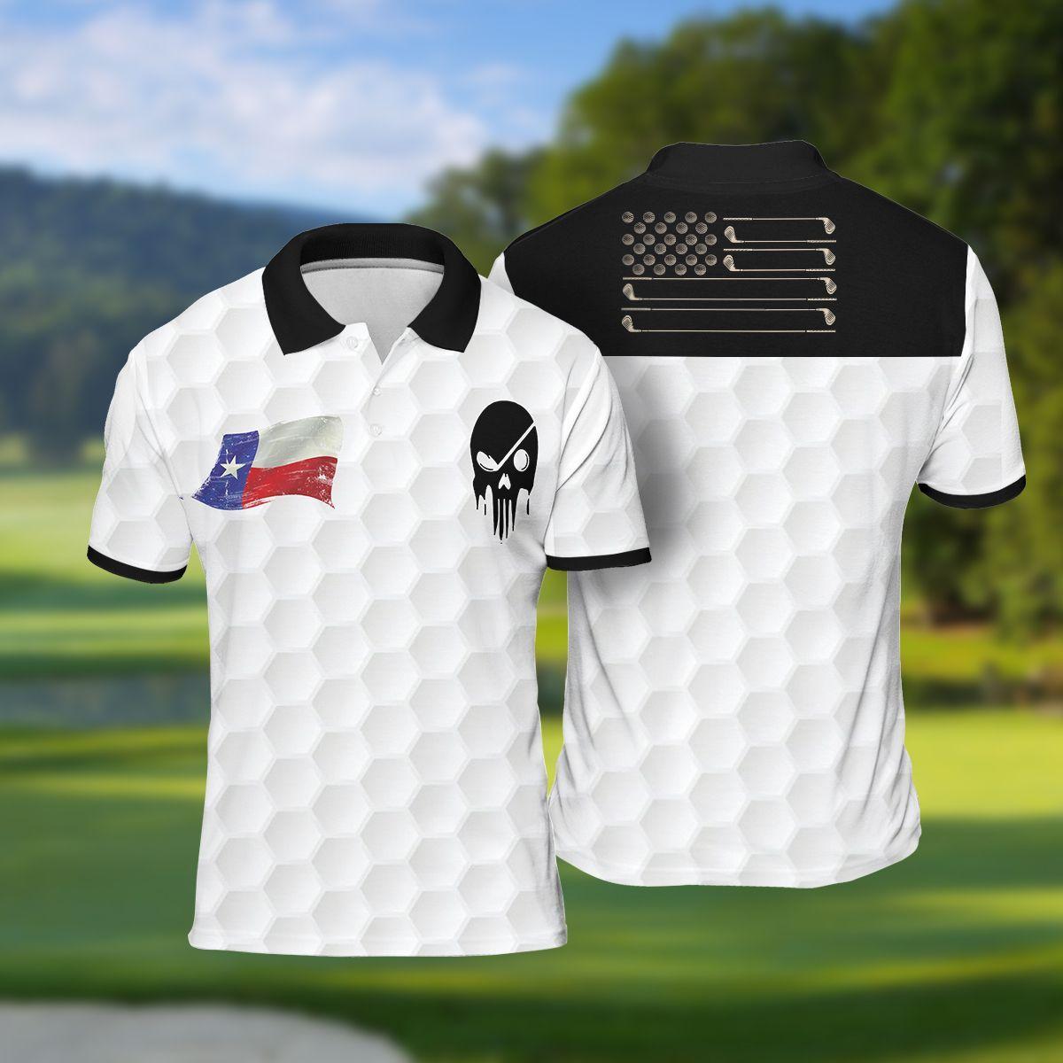 Texas Golf Ball Skull Polo Shirt