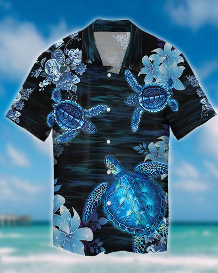 OCEAN BLUE TURTLE HAWAIIAN SHIRT