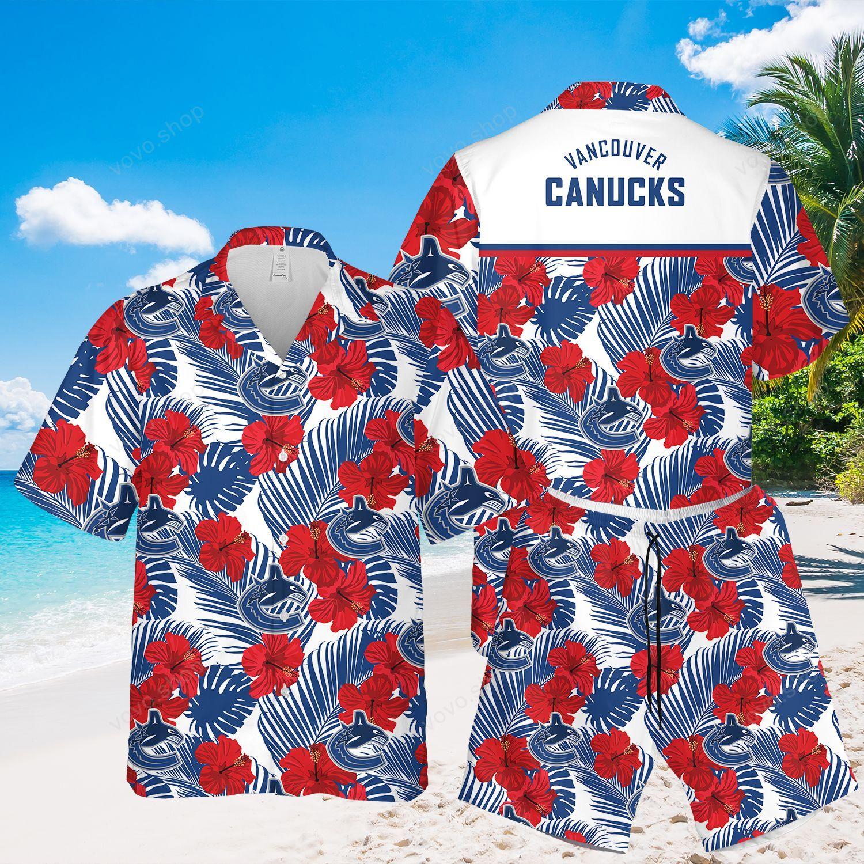 Vancouver Canucks Floral Hawaiian Shirt and Beach Shorts