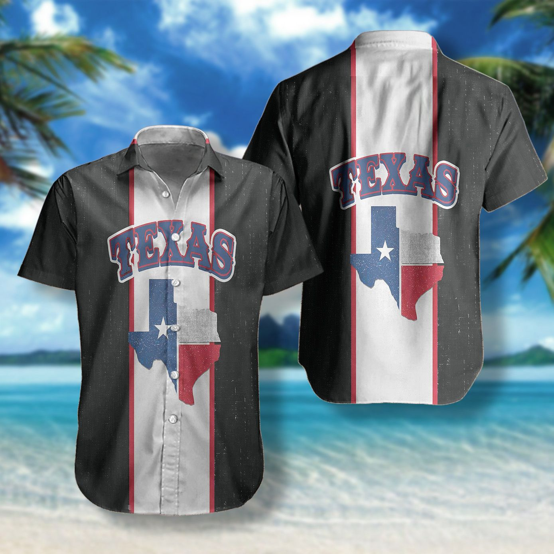 Texas Map and flag Hawaii Shirt