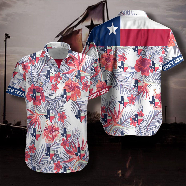 Proud Texas Flag Floral Hawaiian Shirt