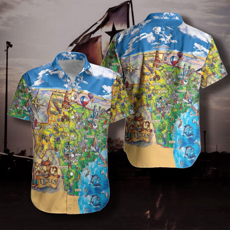 Texas Travel map Hawaiian Shirt