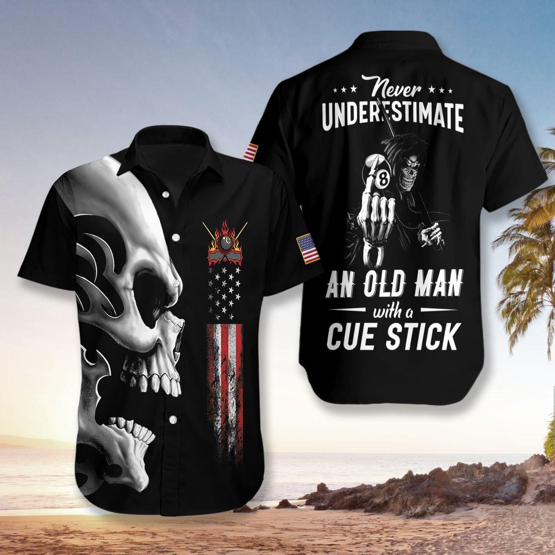 Never Underestimate An Old Man Billiards Hawaiian Shirt