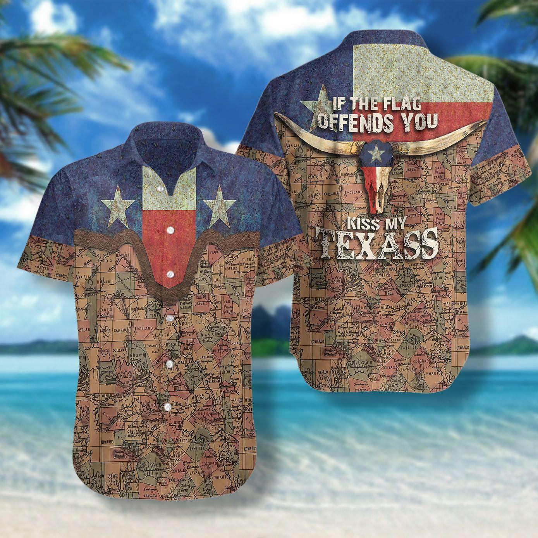If The Flag Offends You Kiss My Texass Map Hawaiian Shirt