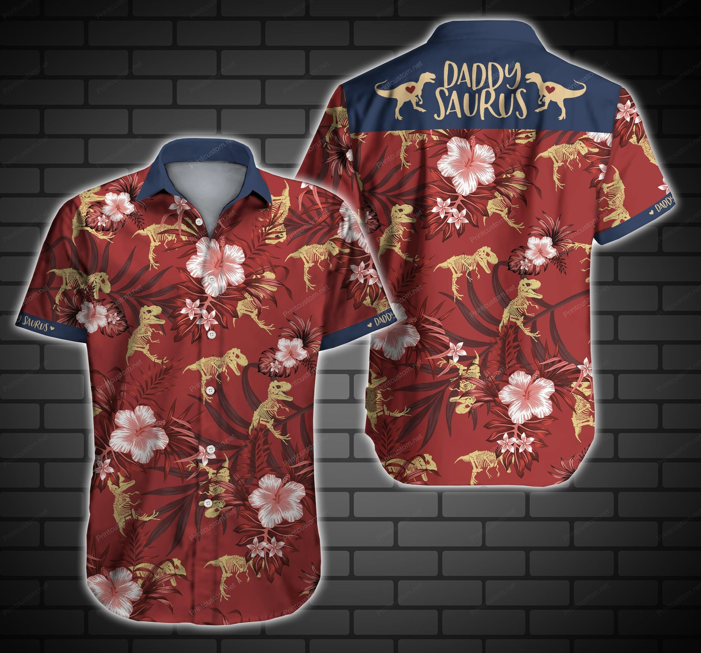 Daddysaurus dinosaur Hawaiian Shirt Summer Shirt