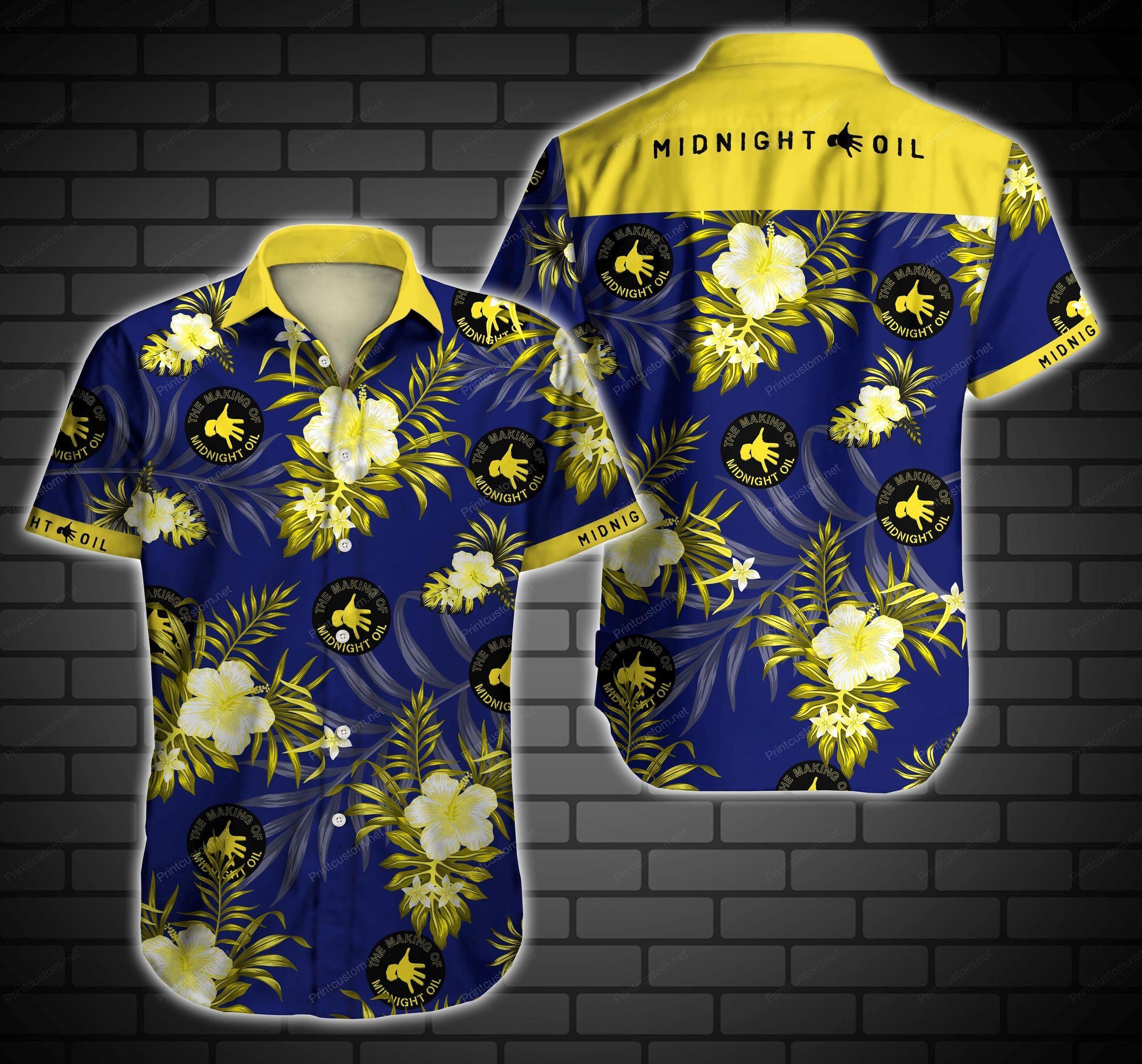 Midnight Oil Floral Hawaiian Shirt Summer Beach Shirt