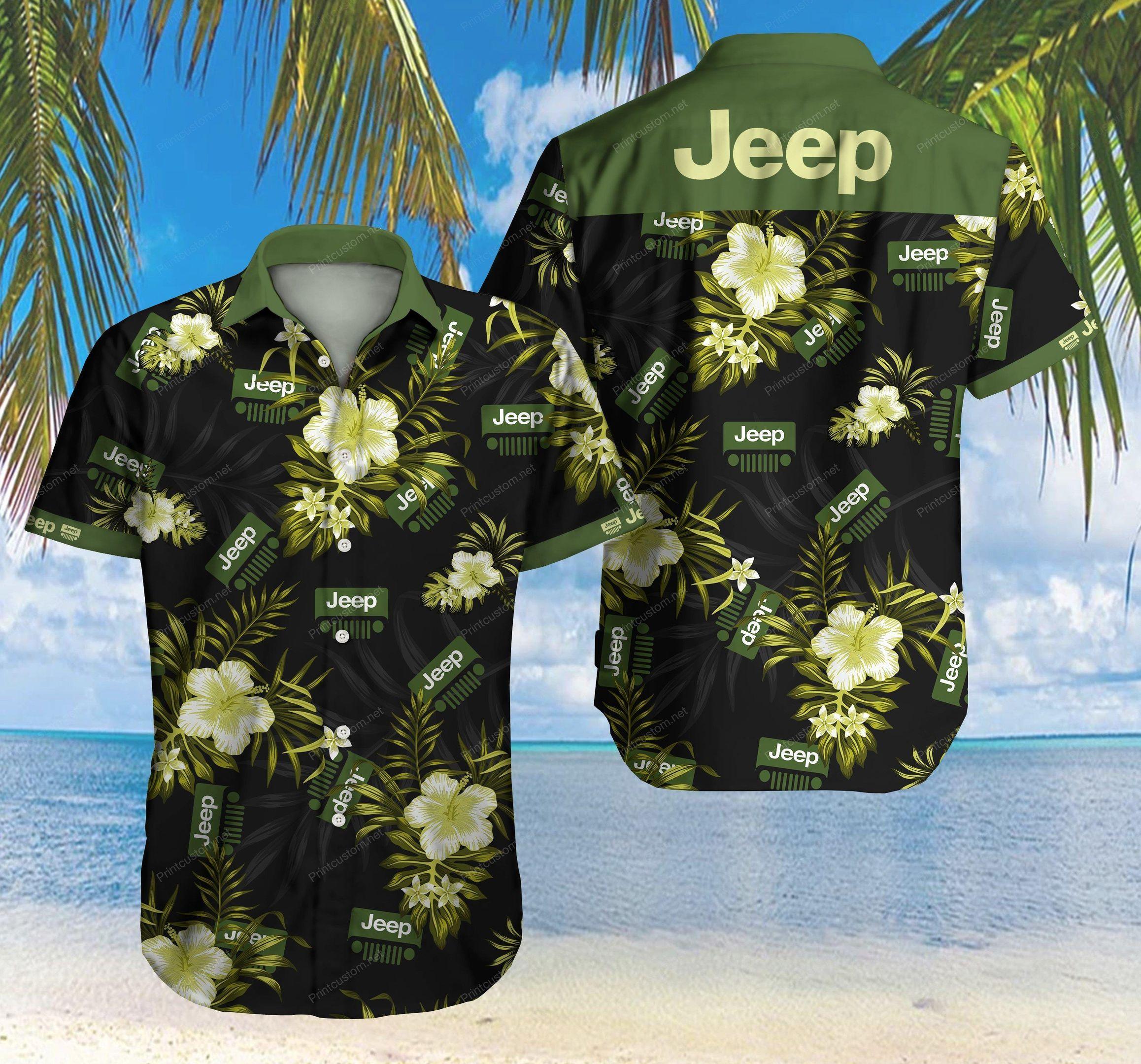 Jeep Floral Hawaiian Shirt Summer Shirt