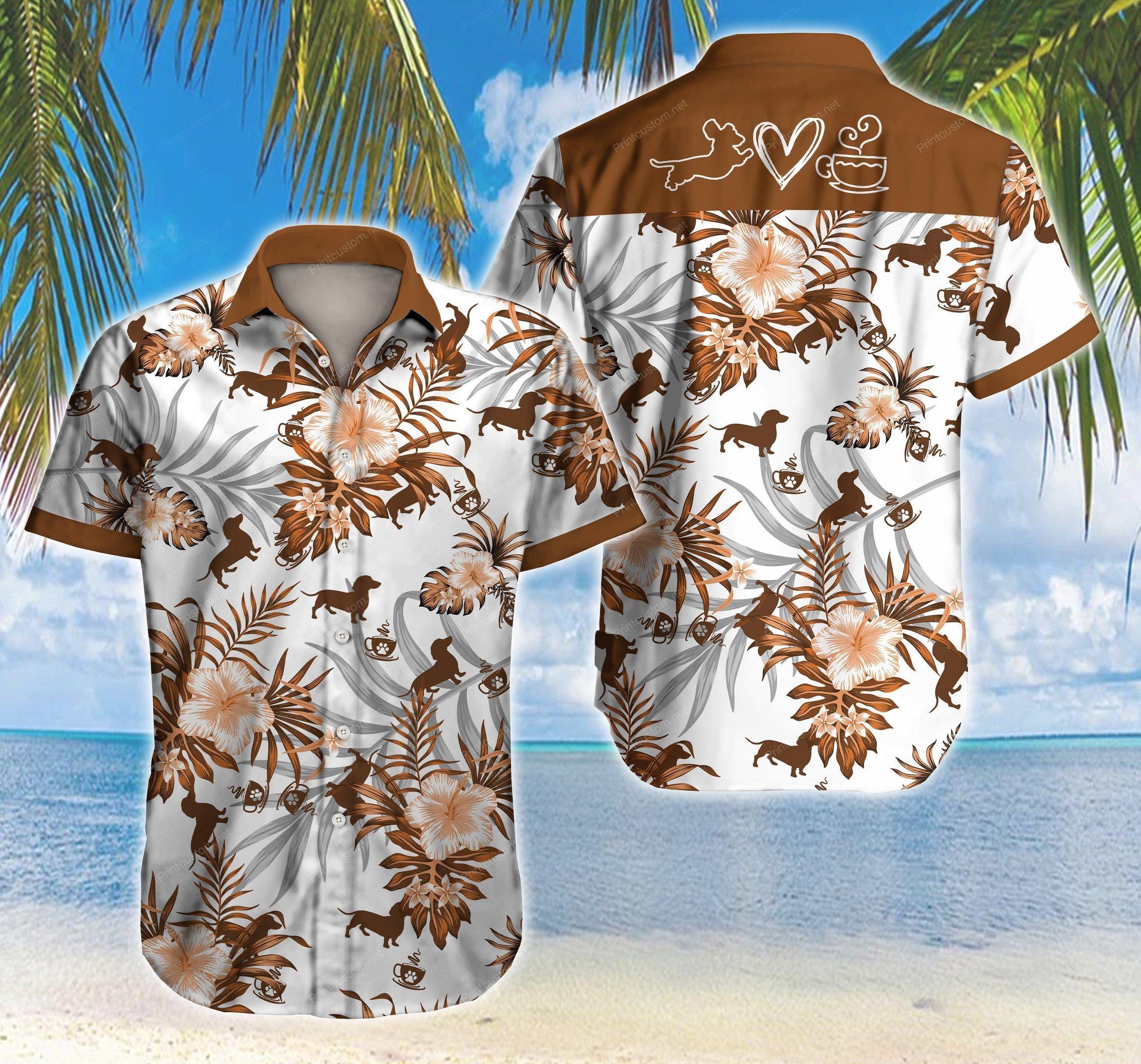 Dachshund Coffee Floral Hawaiian Shirt Summer Beach Shirt