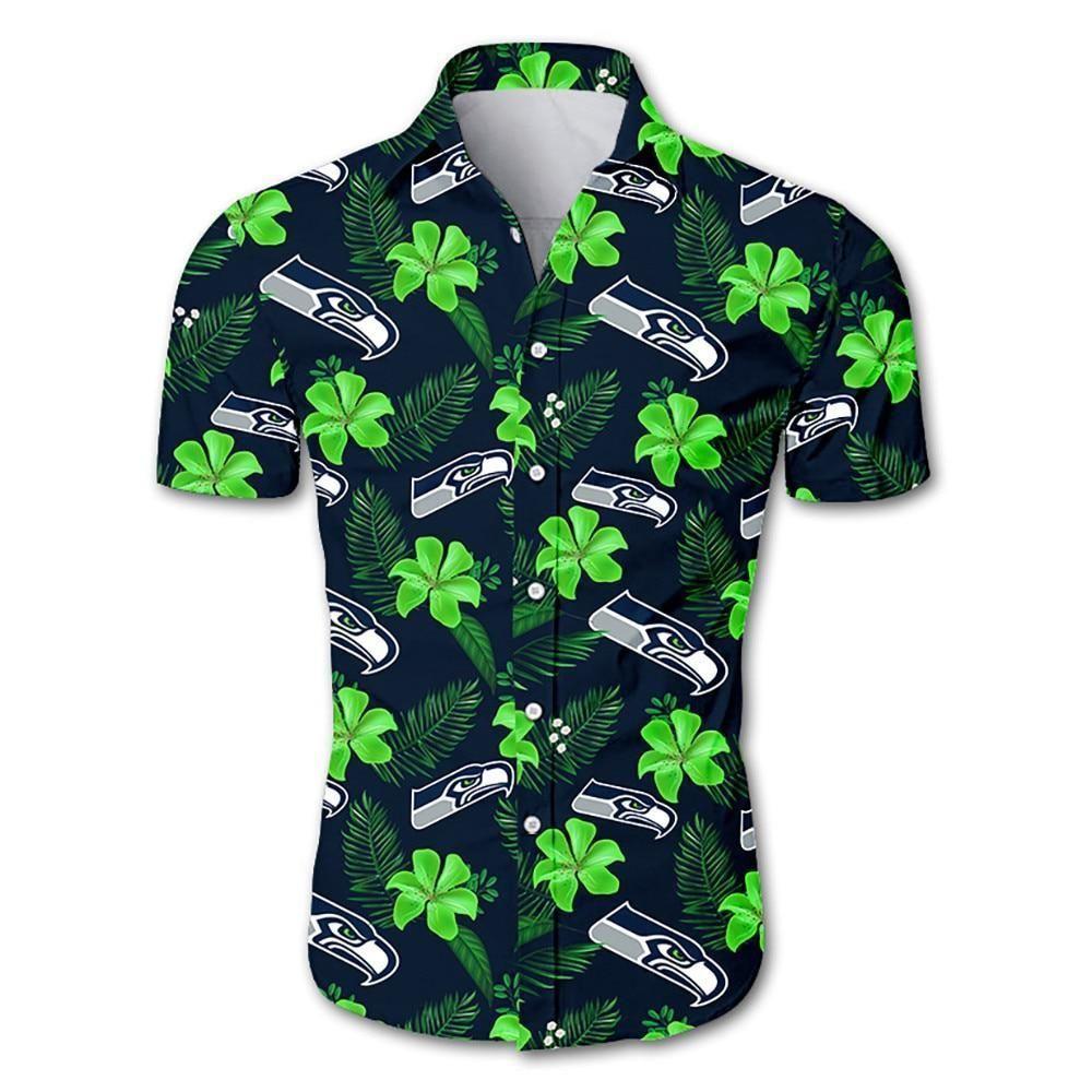 Seattle seahawks tropical flower Hawaiian Shirt Summer Shirt