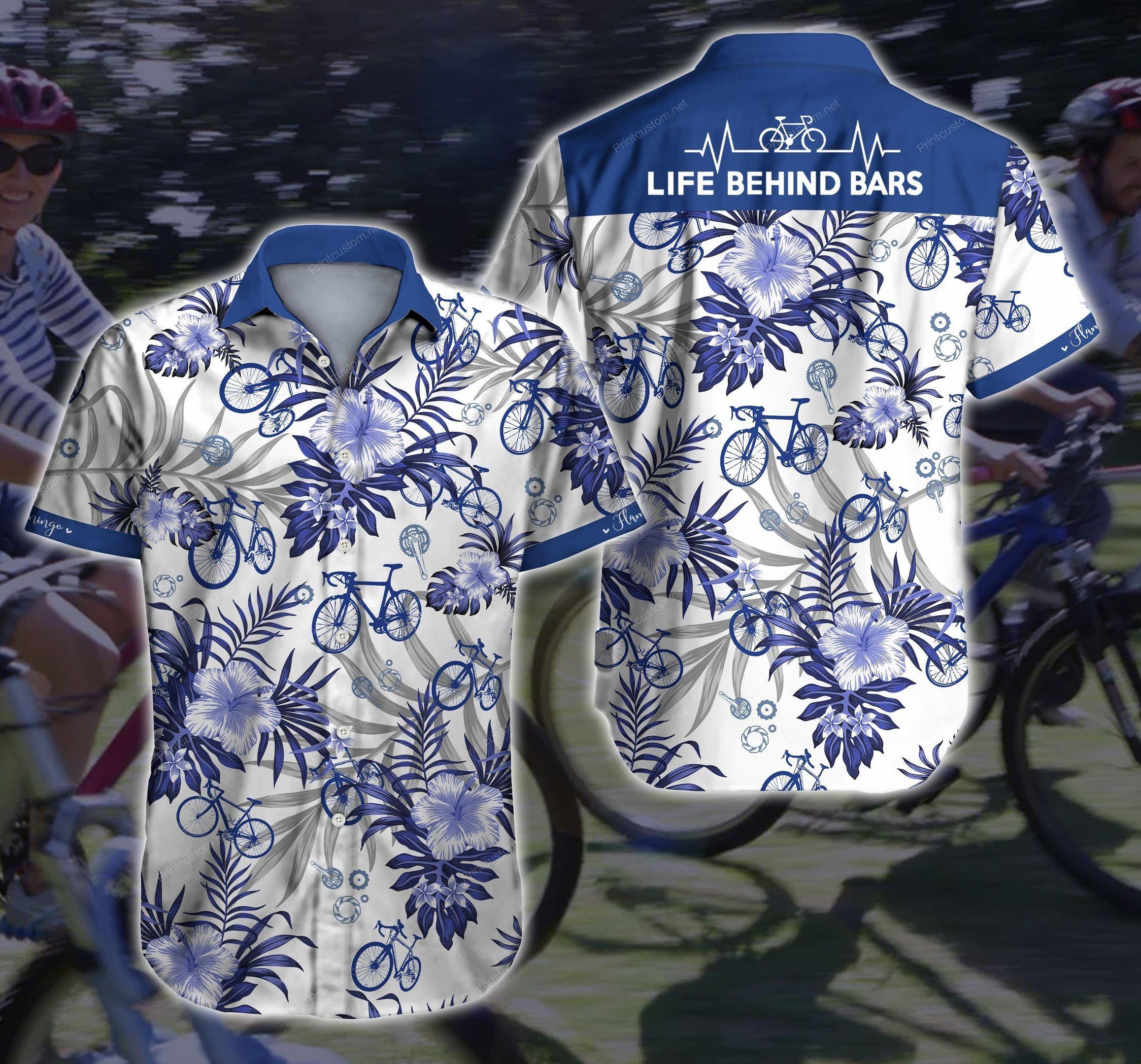Cycling Floral Life Behind Bar Bicycle White Hawaiian Shirt Summer Shirt