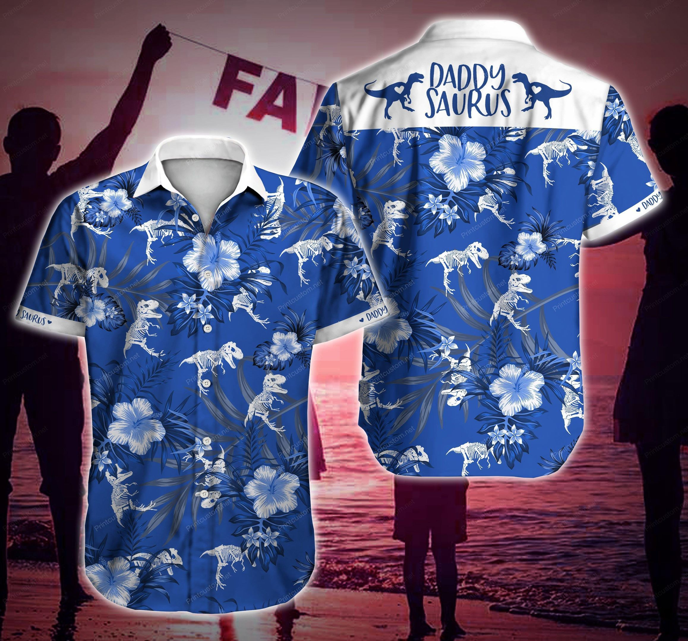 Daddysaurus Floral Blue Hawaiian Shirt Summer Beach Shirt