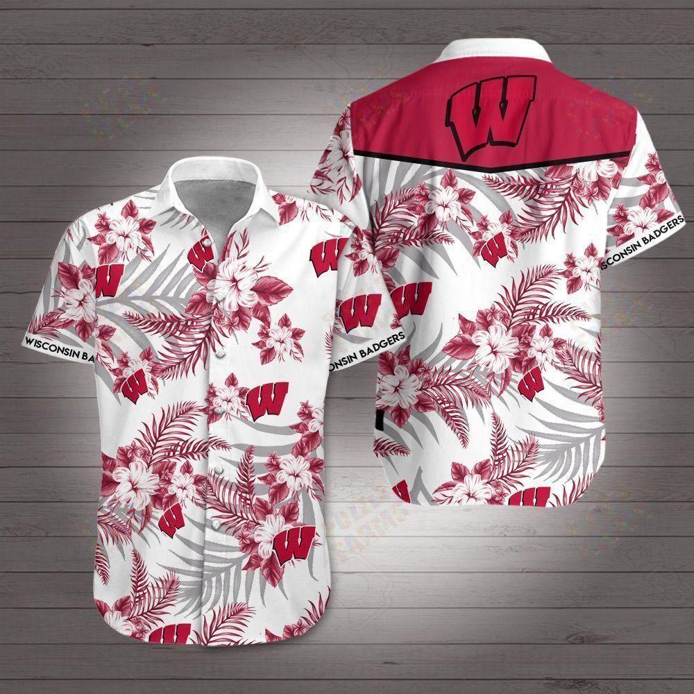 Wisconsin Badgers Floral Hawaiian Shirt Summer Shirt