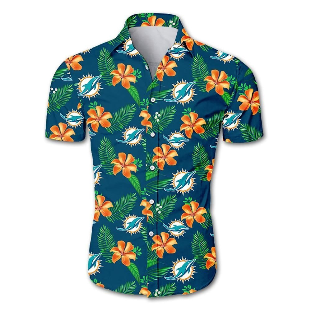 NFL Miami Dolphins tropical flower Hawaiian Shirt Button Shirt