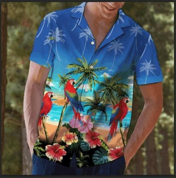 Beach parrot coconut Hawaiian Shirt Summer Shirt
