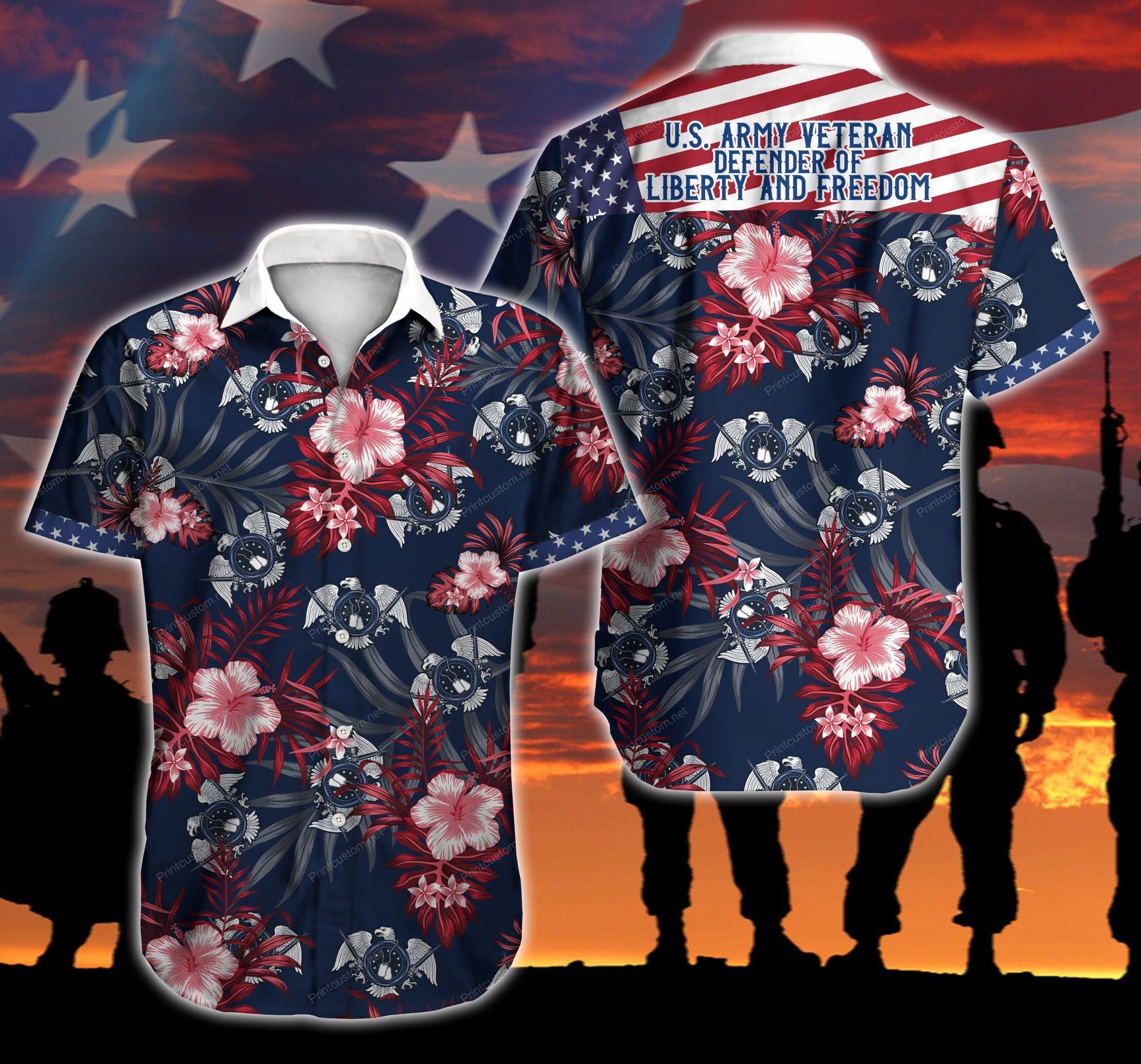 American US Army Veteran Floral Hawaiian Shirt