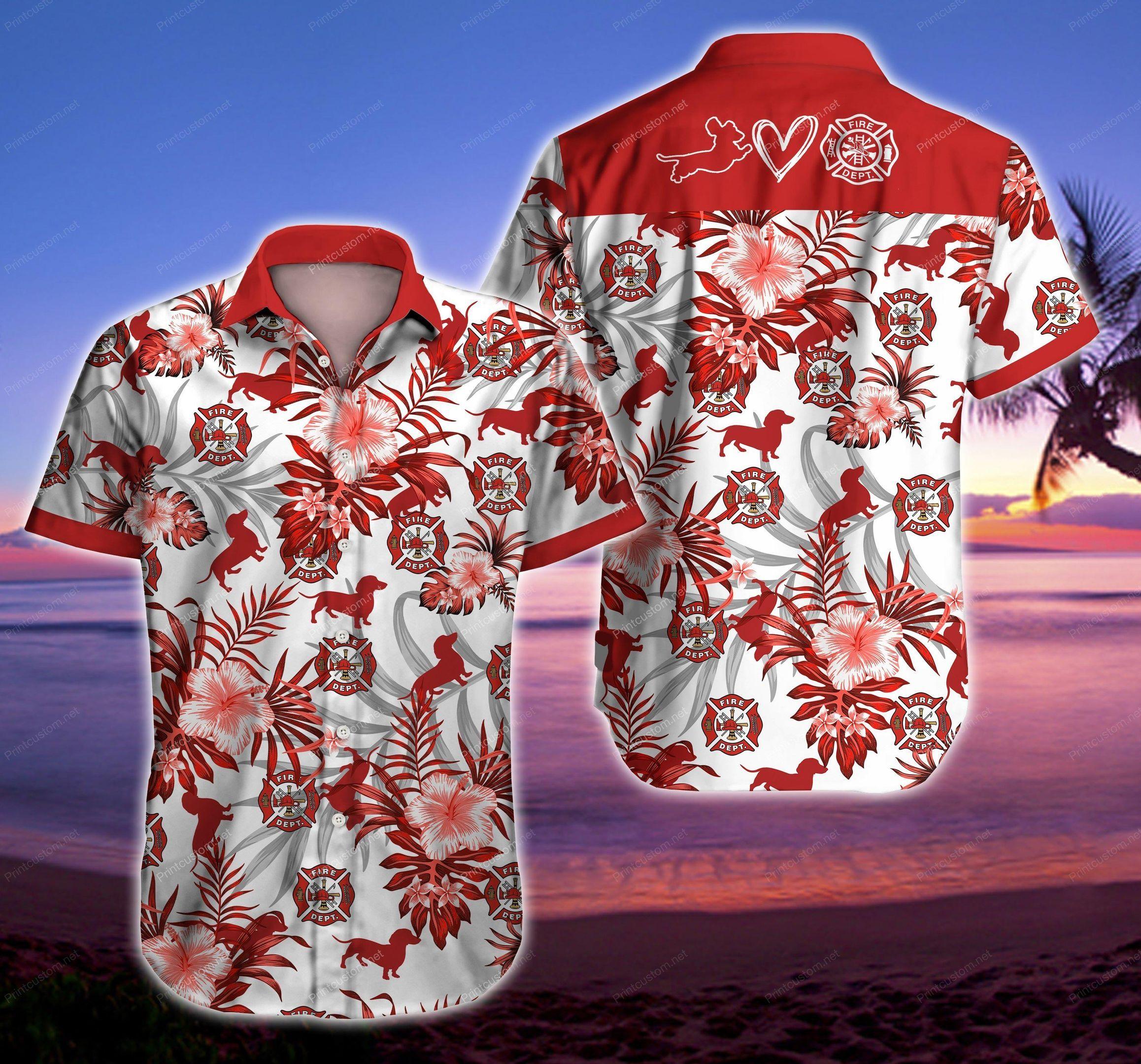 Firefighter Dachshund Love Hawaiian Shirt Summer Beach Shirt
