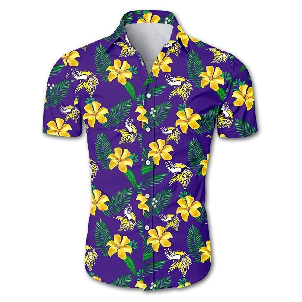 NFL minnesota vikings tropical yellow flower Hawaiian Shirt