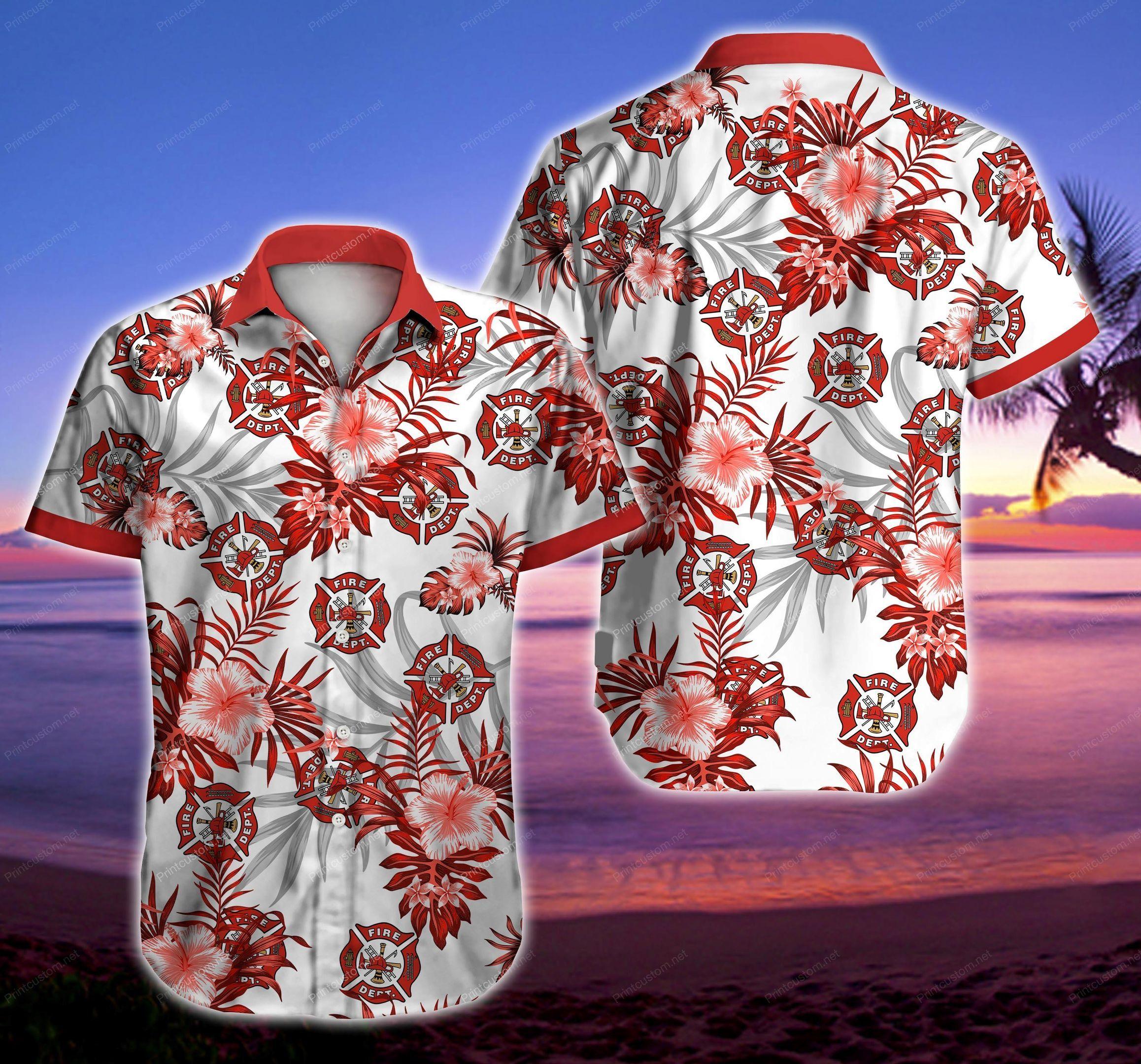 Firefighter Floral Hawaiian Shirt