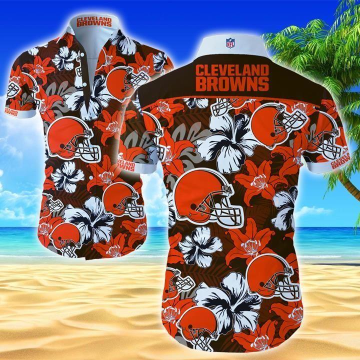 NFL Cleveland Browns Floral Hawaiian Shirt Summer Shirt
