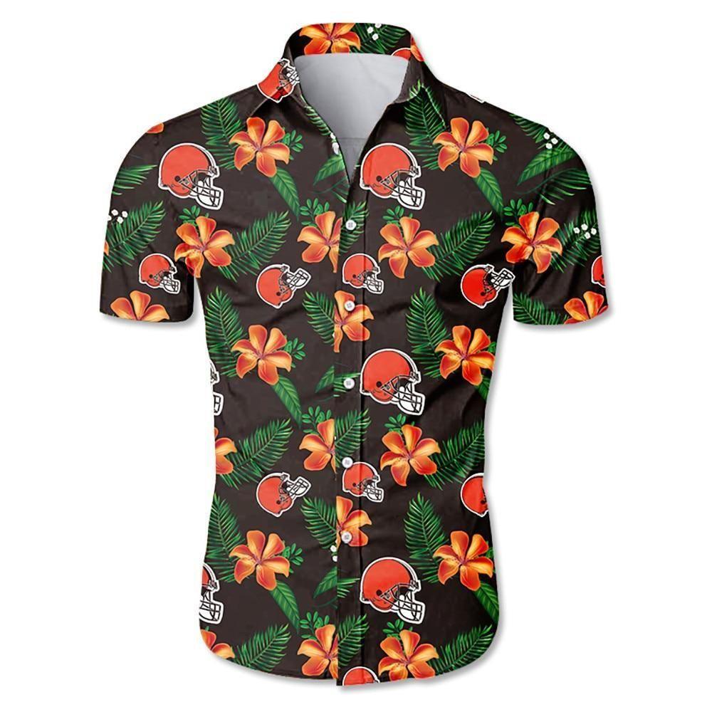 NFL Cleveland browns helmet tropical flower Hawaiian Shirt