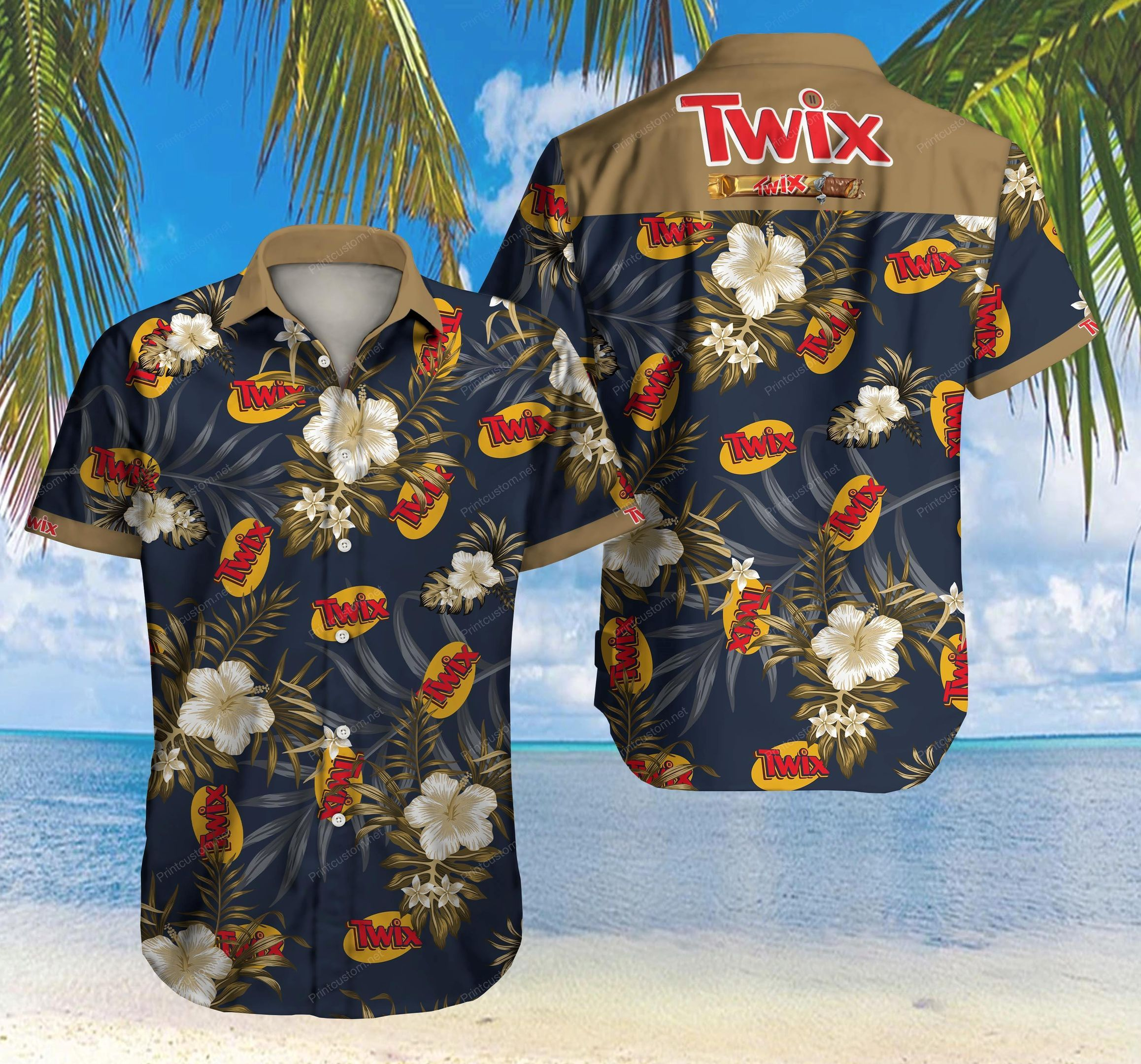 Twix chocolate Floral Hawaiian Summer Shirt