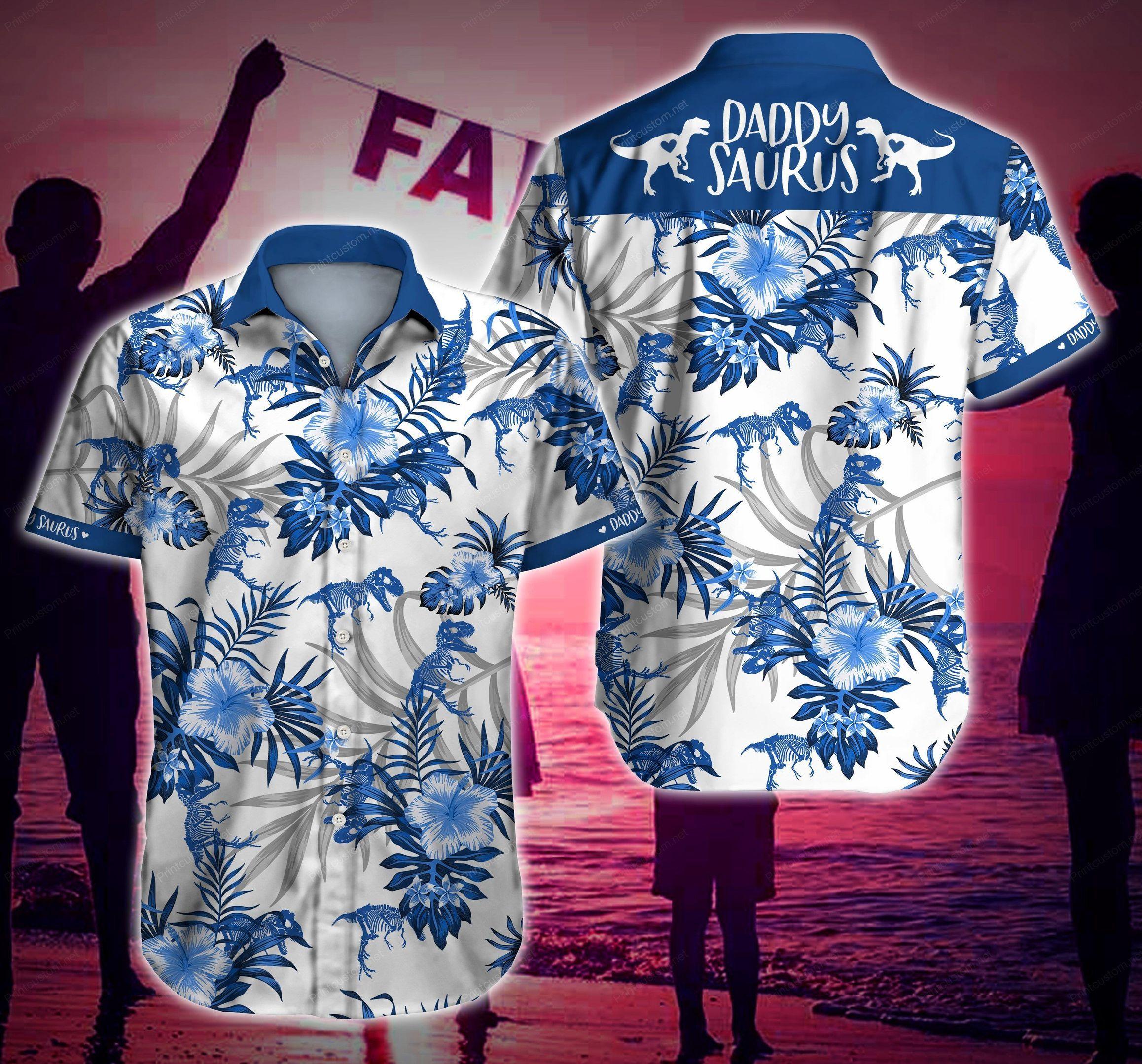 Daddysaurus Floral White Hawaiian Shirt Summer Beach Shirt