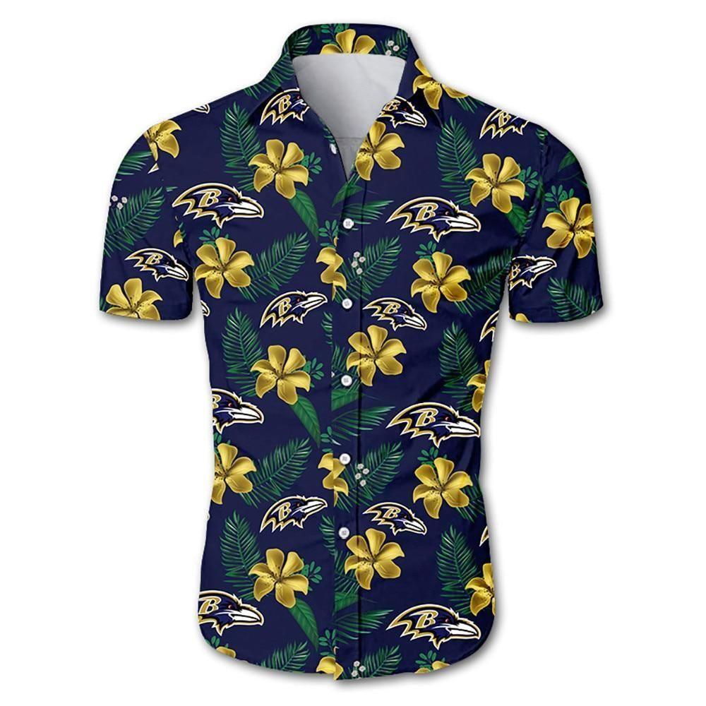 Baltimore ravens tropical flower Hawaiian Shirt
