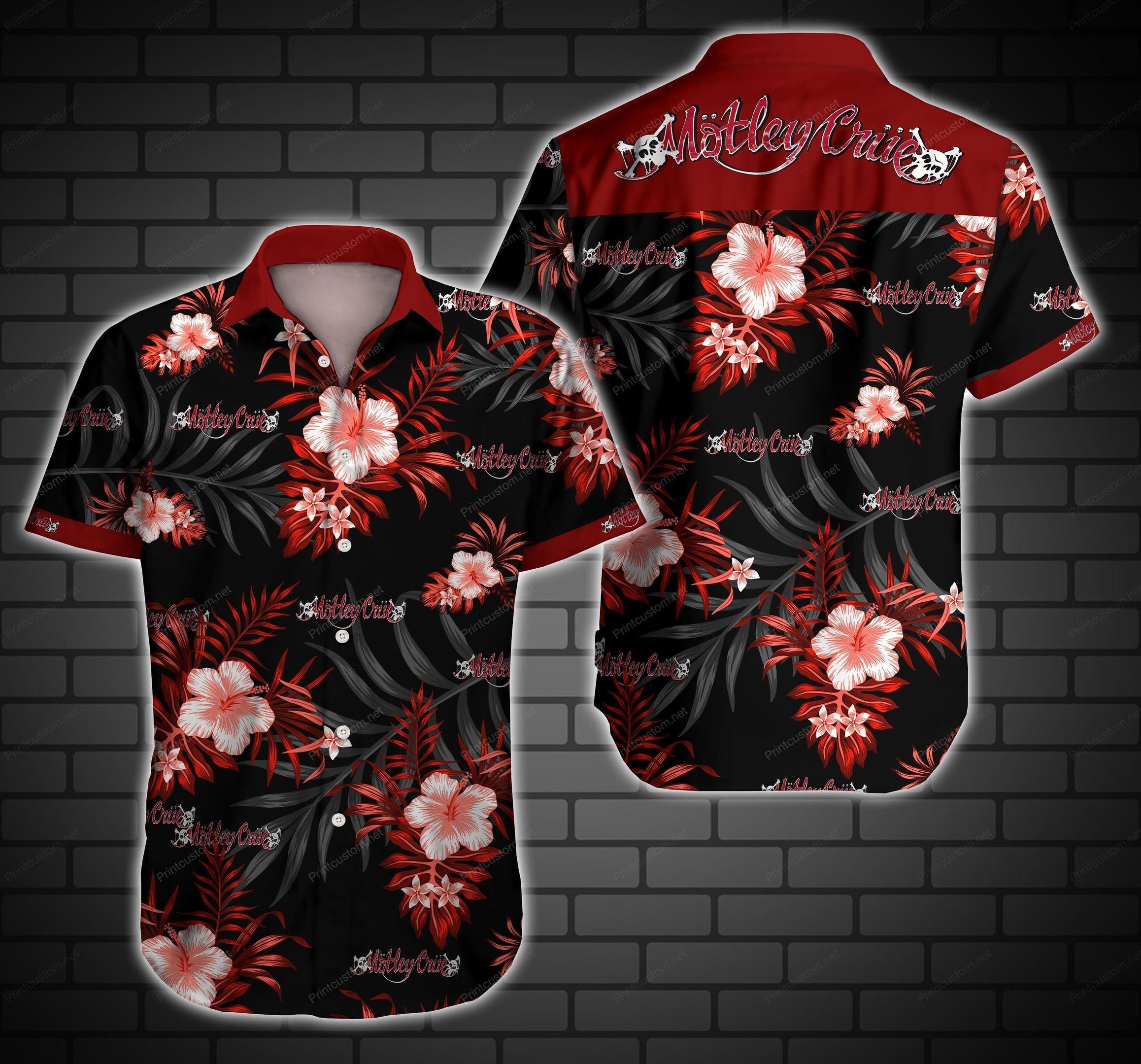 Motley Crue Floral Hawaiian Shirt Summer Beach Shirt