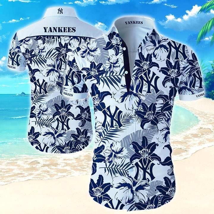 New York Yankees baseball Floral Hawaiian Shirt