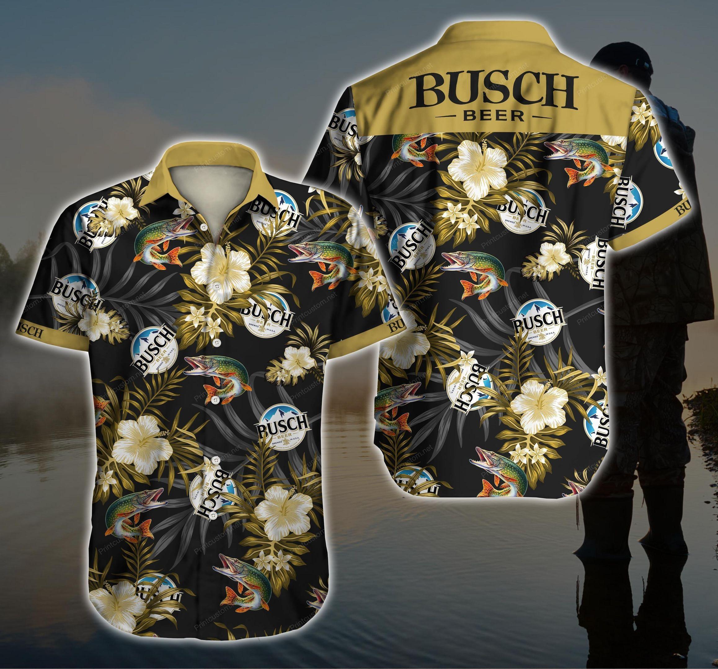 Busch beer Fish Hawaiian Shirt Summer Shirt